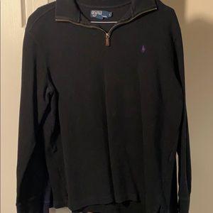 Polo fleece black quarter zip sweater